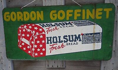 Vintage Holsum Enriched Bread Sign Painted  Double 2 Sided Heavy Metal Steel