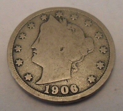 "1906 P Liberty Head ""v"" Nickel  **free Shipping**"
