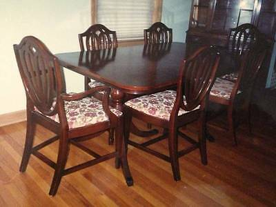 Federal Style 40s Mahogany 9 piece Dining Room Set China Buffet Table & 6 Chairs