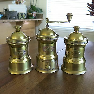 Antique Arts and Crafts Brass Coffee Grinder Matching Set Germany