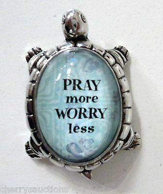 L Pray more worry less LUCKY TURTLE CHARM FIGURINE zinc faith prayer