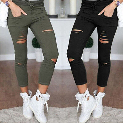 Women Strappy Hole Denim Stretch Jeans Skinny Ripped Slim Pencil Trousers Pants