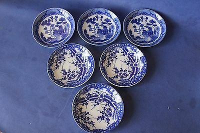 Small Japanese Blue & white, blue willow & cherry blossom sauce dish's.