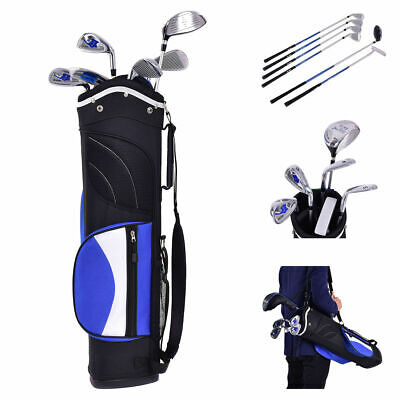 New 6 Piece Golf Club Set for Kids Wood Iron Putter w/Stand Bag Ages 8-10 Blue