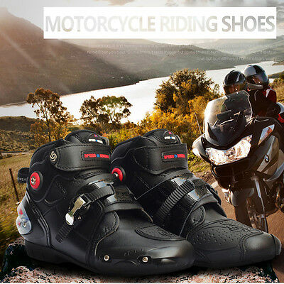 Men Sport Ride Motorcycle Racing Boots Waterproof High Fiber Leather Shoes Boots