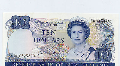 New Zealand UNC Replacement Star Note Hardie $10 P172b Prefix NA 632522*  RARE