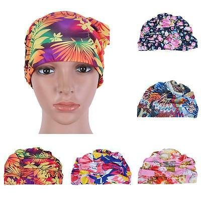 Swimming Cap Protect Ears Long Hair Sports Swim Floral  Hat For Men Women Adults