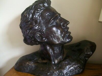 Stylised Large Coldcast Bronze French Art Deco Bust Nude Male Signed H.oneslo