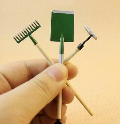 3PC/Set Dollhouse Miniature Fairy Garden Accessory Tools Spade Rake Shed 1:12