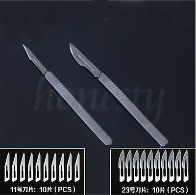 1PCS Stainless steel Scalpel Handle 23#/11# +10PCS 3#/4# Surgical Knife Blades