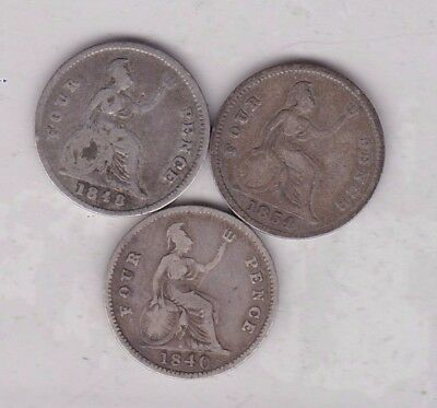 1840, 1848 & 1854 Victorian Silver Four Pence Coins In Fine Condition