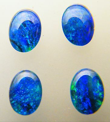 Natural Australian Opal Triplet 7mm x 5mm Oval Loose Stones Blue/Green (4 Pack)