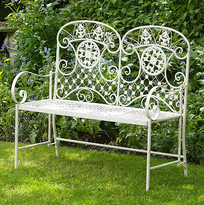 2 Seater Metal Bench White Steel Garden Patio Outdoor Furniture Indoor Vintage