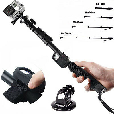 Handheld Remote Pole Selfie Stick Extendable Telescopic Monopod For GoPro4/3+/3