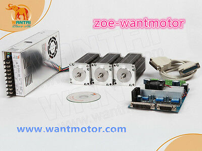 Good kit!EU free!3Axis Nema 23 Wantai Stepper Motor 57BYGH627 3A 270oz-in&board