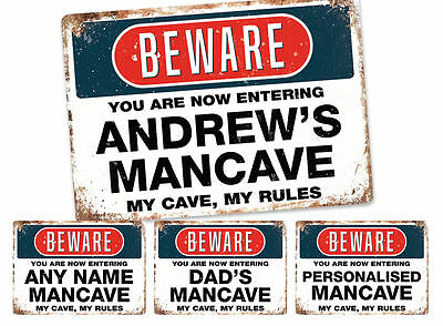 PERSONALISED Mancave | Metal Wall Sign Plaque Quote | Any Name Your Dad Son Room
