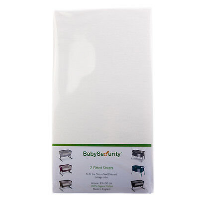 DK GloveSheet Next 2 Me Organic Fitted Crib Cot Sheet White 2 Pack