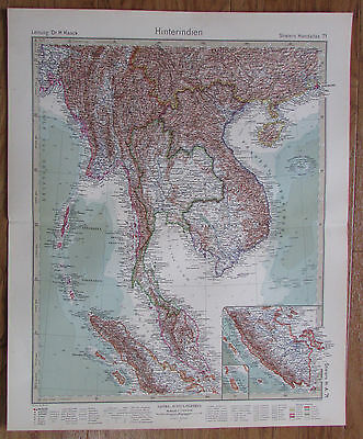 1926 HINTERINDIEN Indien Indo-China Indochine Kupferstich alte Landkarte Old Map