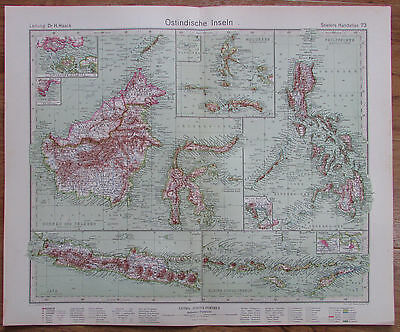 1926 OSTINDISCHE INSELN East Indian Archipelago Kupferstich Landkarte Old Map