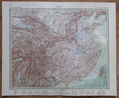 1926 CHINA Chine Kupferstich Alte Landkarte Karte Antique Map