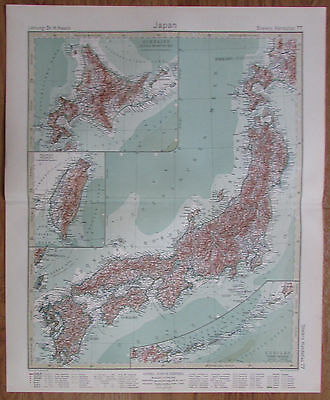 1926 JAPAN Japon Giappone Taiwan Kupferstich Alte Landkarte Karte Antique Map