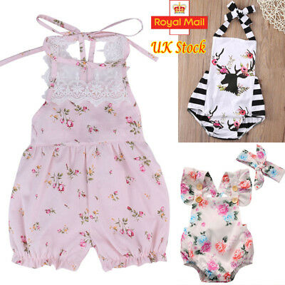 UK Seller Newborn Baby Girl Lace Floral Romper Jumpsuit Bodysuit Sunsuit Clothes