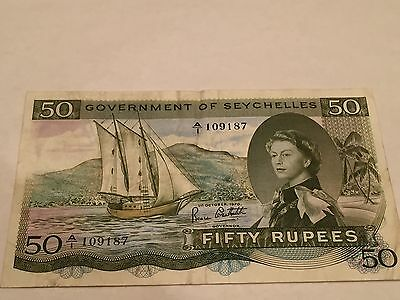 1970 QEII GOVERNMENT OF SEYCHELLES 50 RUPEES P17c NOTES (RARE YEAR) !!