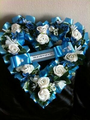 Artificial Silk Funeral Flower Open Heart Memorial Tribute Wreath Faux Floral