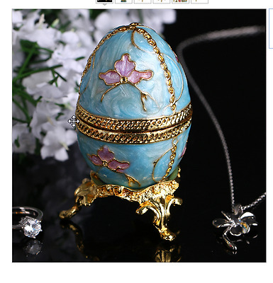 New Home Ornaments 2.8'' New Year Russian Faberge Egg Jewelry Tinket Box Vintage