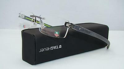 Tag Heuer TH 7643 008 Track Gunmetal Black Green Rimless Eyeglasses Frames Sz 54