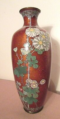 antique handmade Japanese Asian floral enamel bronze cloisonne flower bud vase