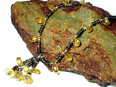 Smoky  QUARTZ / CITRINE   Gemstone  Necklace  Sterling  Silver  925 - Boxed