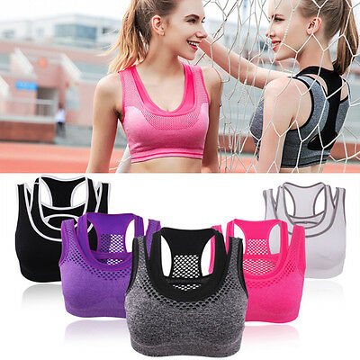 NEW Womens Comfort Sports Bra Crop Tops Yoga Vest Stretch Shapewear Padded Bras