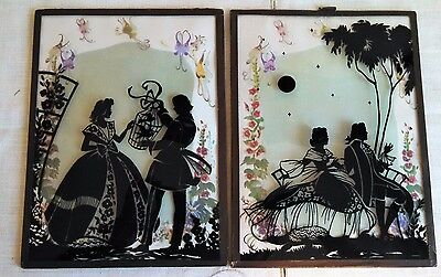 Pair of Vintage Silhouettes Convex Glass Romantic Couple Birdcage