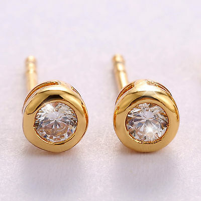 24k Yellow Gold Filled Round Stud Earrings with Bezel Set Simulated Diamond