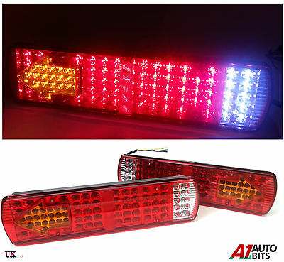 Pair 24V Led Rear Tail Lights Lamp 5 Function Trailer Caravan Truck Lorry 84 Led