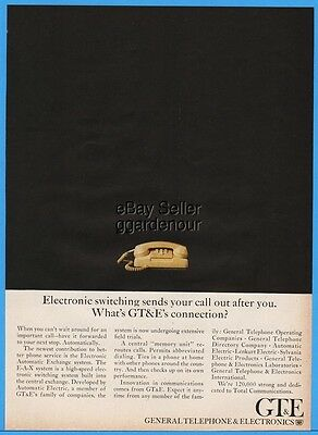 1966 General Telephone GTE Electronic Switching Push Button Yellow Phone Ad