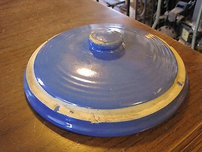 "Vintage Antique 10"" Blue Pottery Lid Domed Casserole - Crock - White Hall?"