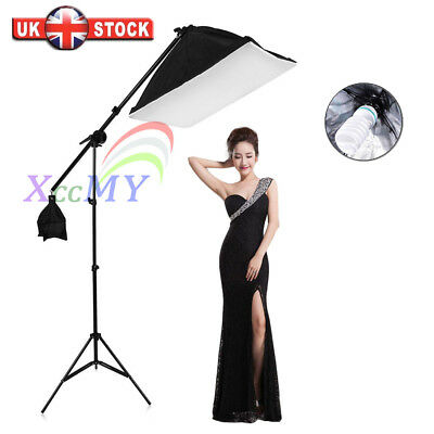 135W Photo Studio Softbox Soft Box Continuous Lighting Boom Arm Light Stand UK