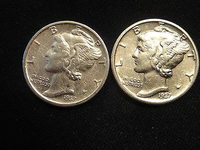 1937 S, P Both Coins For 1 Price Bu Uncirculated Silver Mercury Dimes