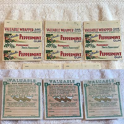 Clark's Peppermint Gum Wrappers (3) Clark Brothers Chewing Gum Company