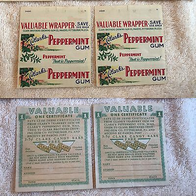 Clark's Peppermint Gum Wrappers (2) Clark Brothers Gum Company