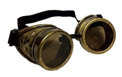 Gold Victorian Steampunk Costume Goggles Glasses Mens Welding Cyber Adult