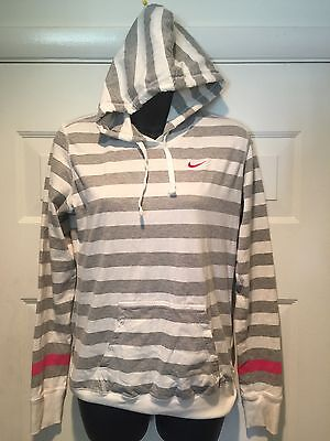 NIKE Women's 100% Cotton Pullover Pink/Gray Striped Hoodie Size Medium