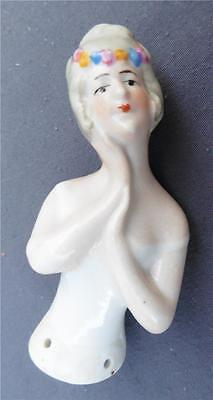 Vintage Half Doll Porcelain Germany 5087 Face resting on Hands Pin Cushion