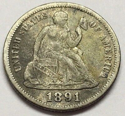 Silver 1891 Seated Liberty Dime U.s. Coin * Free Bubble Shipping & Tracking
