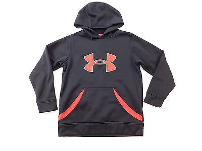 Under Armour UA Hoodie Boys Youth Size S Small Pullover Sweatshirt Red Black