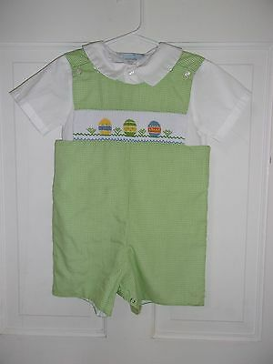Boutique smocked shortall/one piece 24M/2t Easter!! Spring!! EUC!!