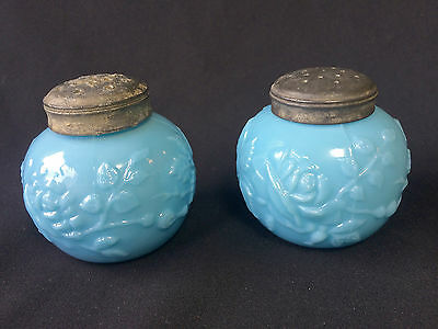 New Martinsville Glass Rose Relievo Blue Salt Pepper Shakers 1902 Very Scarce