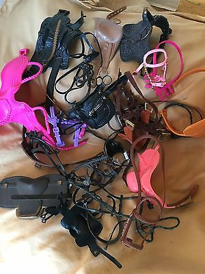 Large Huge Lot Of Toy Horse Saddles Bridals And Reins
